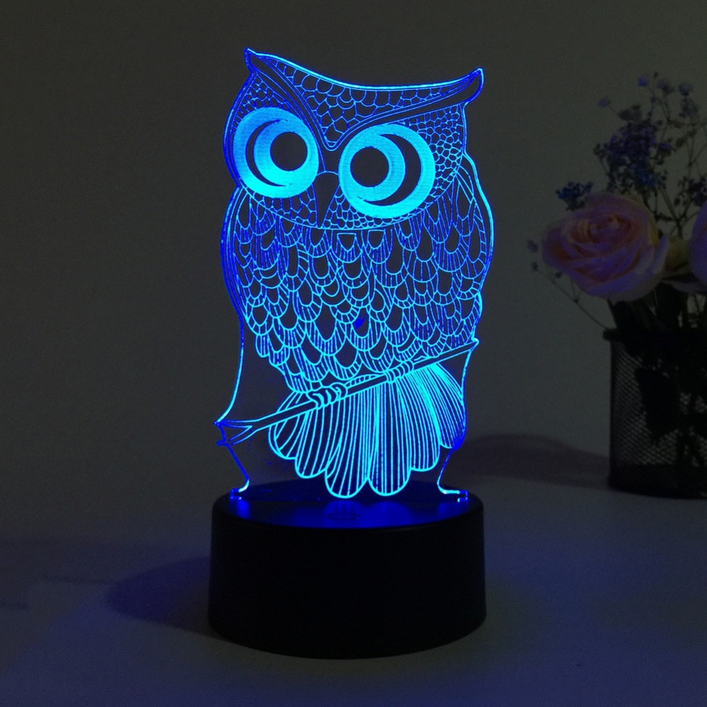 Cute Owl Light 3D LED Animal Night Light RGB Changeable Lamp Child Kids Baby Soft Lights Bedroom Decoration image
