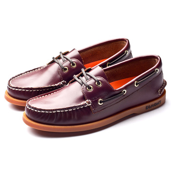 Egmont EG-09 Wine Red Spring Summer Boat Shoes Mens Casual Shoes Loafers Genuine oil Wax Leather Handmade Comfortable Breathable 1