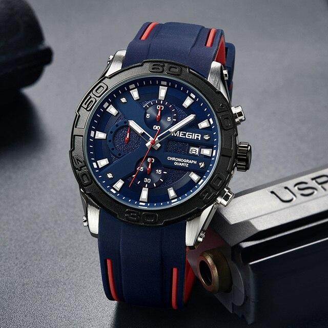 c034e2ee743 MEGIR Casuais Dos Homens Do Esporte Relógio Marca de Moda Pulseira de  Silicone Militar Relógios Mens