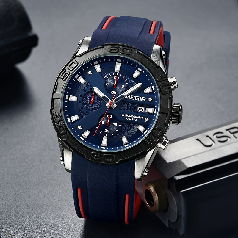 MEGIR Casual Sport Men Watch Brand Silicone Strap Fashion Military Watches Mens Quartz Wristwatch Relogio Masculino 2055-in Quartz Watches from Watches on Aliexpress.com | Alibaba Group