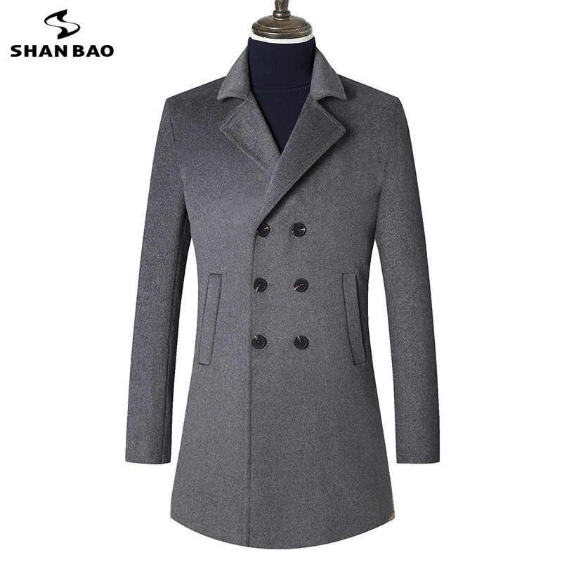 2018 осенне-зимнее Новое Стильное однотонное пальто, роскошное шерстяное теплое деловое повседневное мужское длинное шерстяное пальто, цвета: бежевый, серый, черный