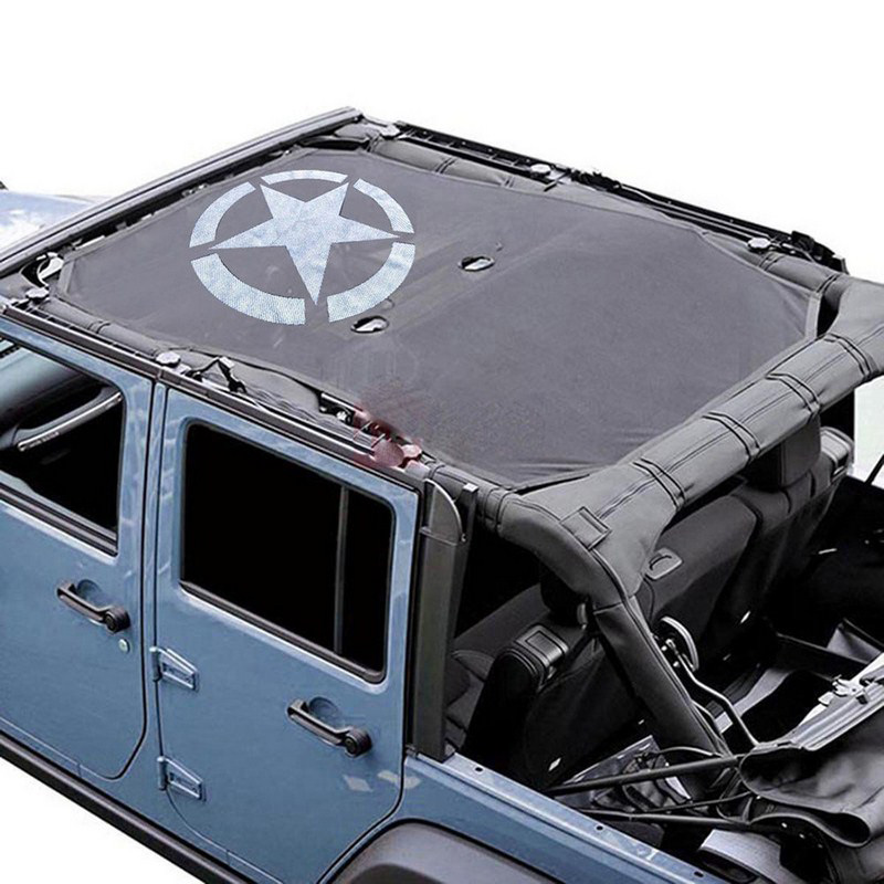 Car Accessories Top Sunshade Cover Roof For Jeep Polyester Mesh Material Breathable Auto Sun Shade Cover Vehicle Shelters