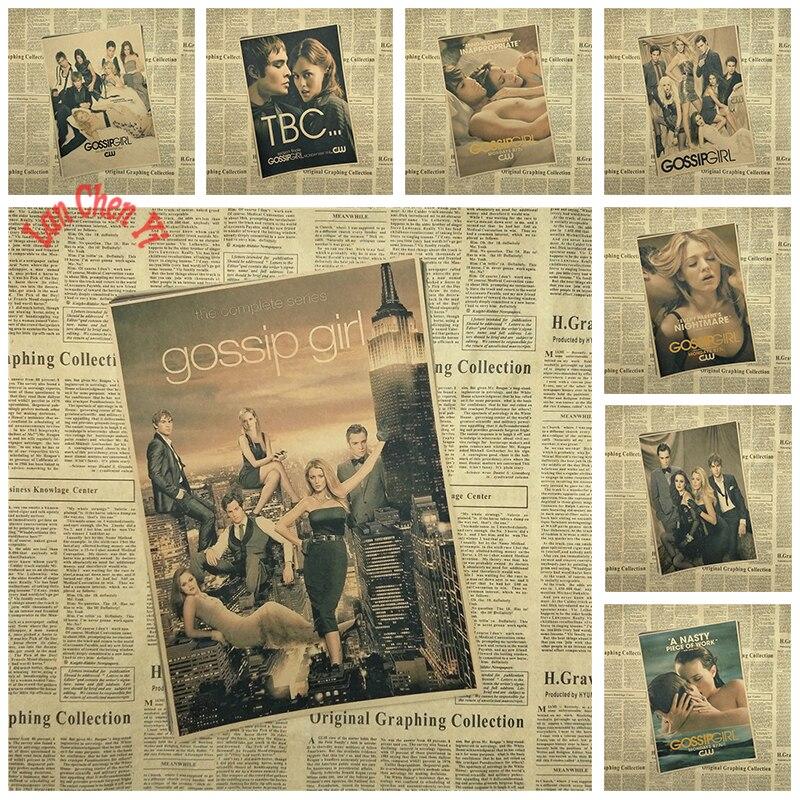 Award winning film Gossip Girl Nostalgic Matte Kraft Paper Poster Office Gift Room Dining Home Decor wall sticker Design