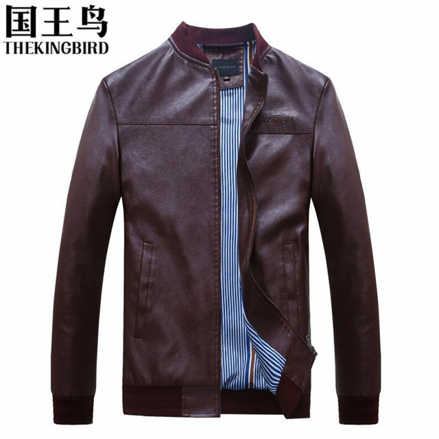 New Fashion PU Leather Jacket Men Black Red Solid Mens Faux Fur Coats Trend Slim Fit Youth Motorcycle Suede Jacket Male