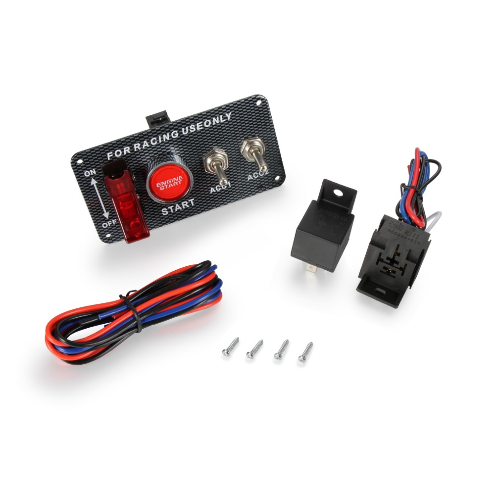 Car 12V Switch Ignition Engine Panel Switching Start Push Racing Car Button 2 Toggle jtron carbon fibre color surface ignition engine start push button toggle switch panel