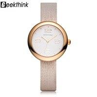GEEKTHINK Brand New Unique Movable Quartz Watch Women Female Dress Girls Casual Leather Strap Wristwatch Clock