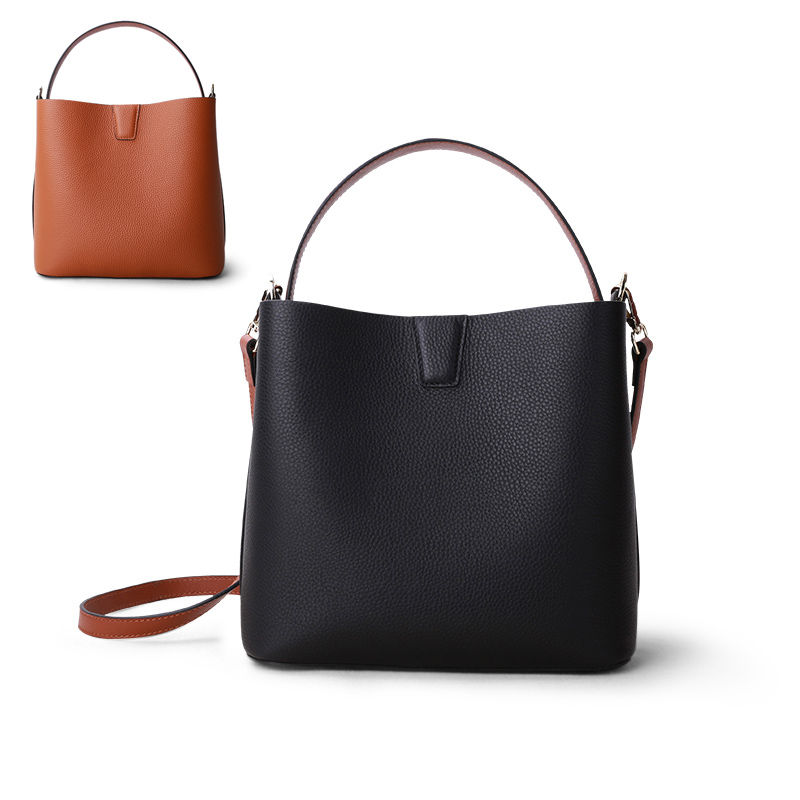 Women Luxury Bag Handbag Female Shoulder Bag Lady Soft Cowhide Genuine Leather Simple Fashion Bucket Crossbody