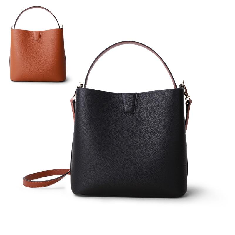 Women Luxury Bag Handbag Female Shoulder Bag Lady Soft Cowhide Genuine Leather Simple Fashion Bucket Crossbody Bag High Quality