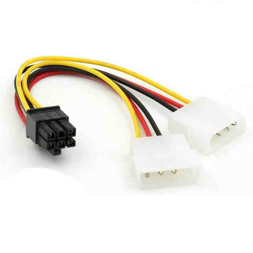 ShineBear 18cm 2 Way 4 pin PSU Power Splitter Cable LP4 Molex 1 to 2 Y Adapter Cable Cable Length: As Show