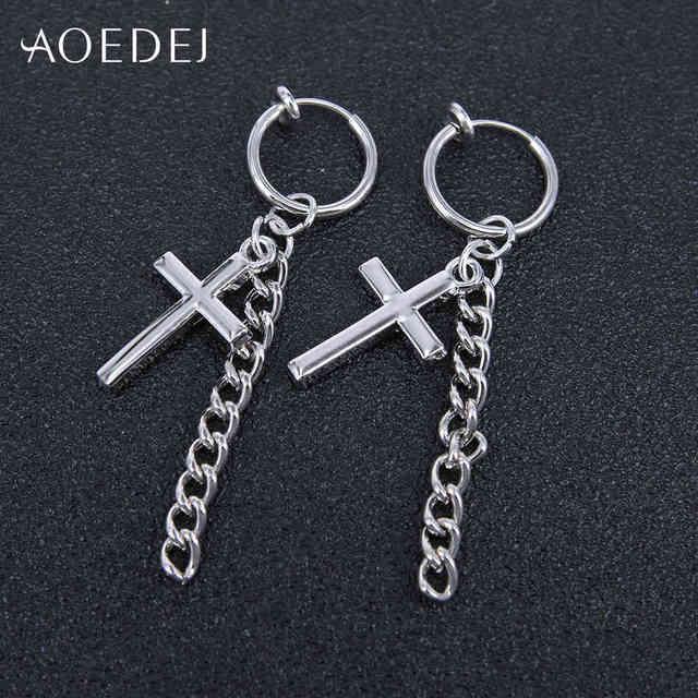 Фото маленькие серьги кольца aoedej с крестом для мужчин и женщин цена