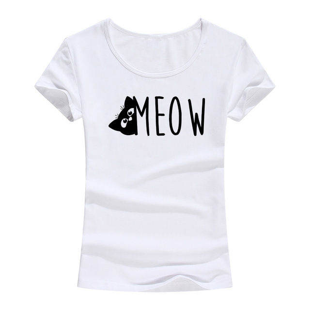 432a513c3 2018 Summer Female T Shirts Funny Cat Meow Print Cotton T-shirt For Women  Harajuku Brand Clothing Kawaii Fashion O-Neck Tops