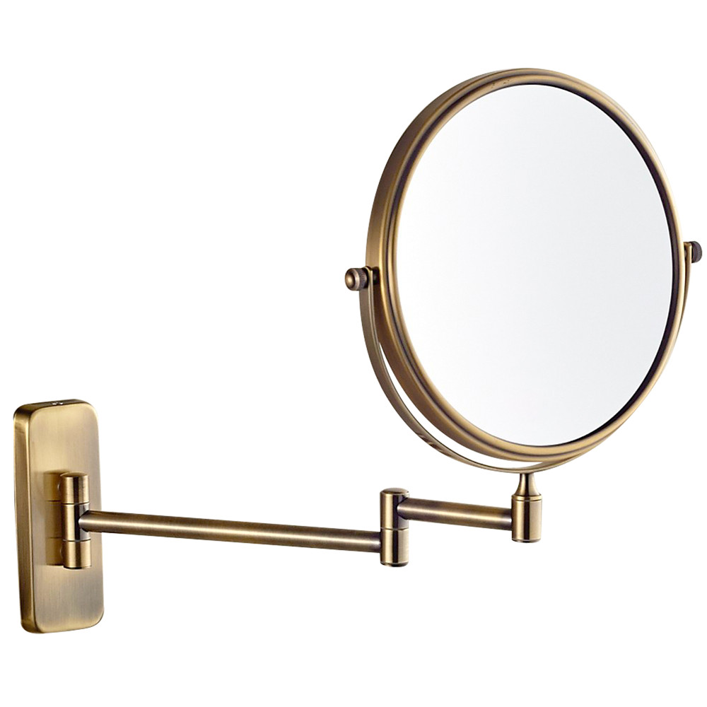 Gurun 8 10x 1x Magnifying Dual Sided Bathroom Folding Shaving Makeup Mirrors Wall Mount Extendable Arm Round Antique Bronze 7x
