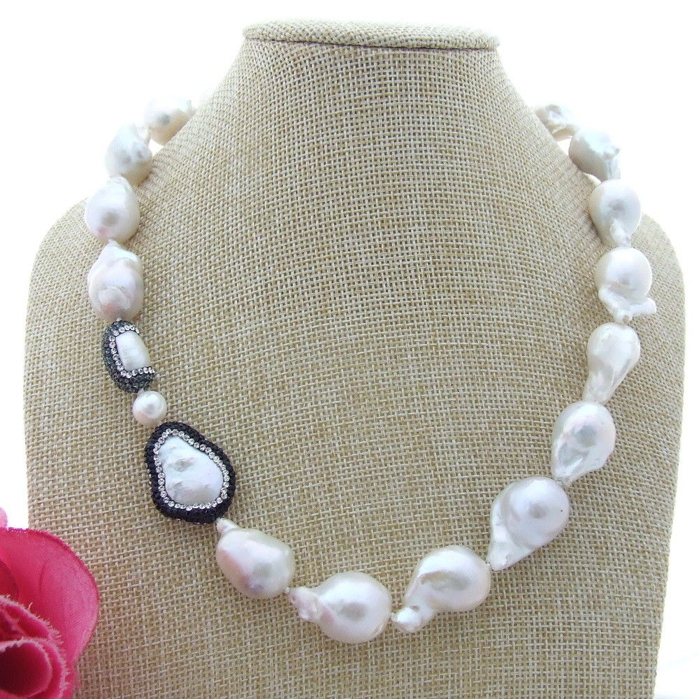 N100606 19 White Keshi Pearl Necklace CZ ConnectorN100606 19 White Keshi Pearl Necklace CZ Connector