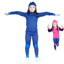100% Merino wool kids thermal underwear set pajamas Children long johns boys girls From 1.5 to 14 years old