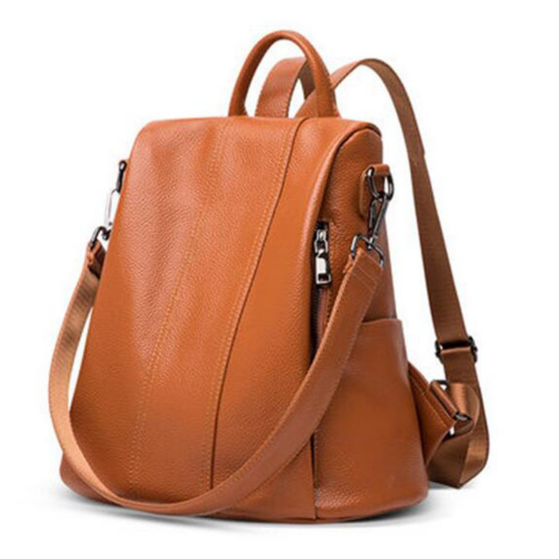 Real Cow Leather Women Backpack High Quality School Daypack Bag Fashion Casual Single Shoulder Bags Cowhide Travel Rucksack