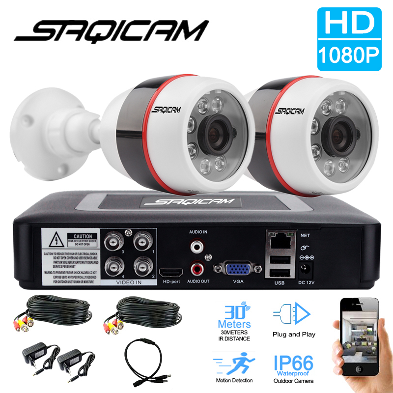 bilder für Saqicam 4CH 1080 P HD Video Security System AHDH 1080N CCTV DVR 2 STÜCKE Wasserdichte Outdoor 2.0MP Überwachungskamera System