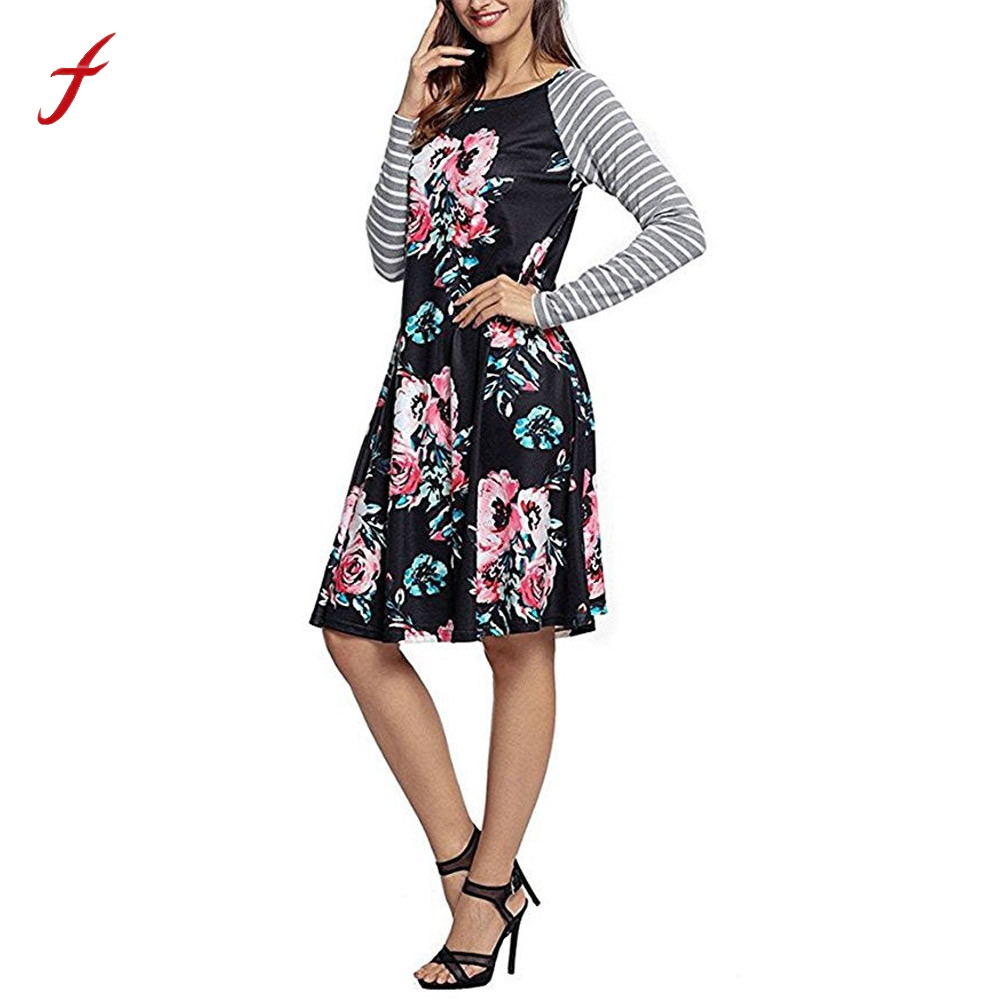 2017 New Summer Autumn maxi Plus Size Dress Floral Long Sleeve O-Neck Stripe Print Casual Dress body shapper kawaii dresses