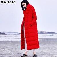 MissFoFo Марка Длинные зимнее пуховое пальто красный Для женщин вниз капот куртка на пуговицах 90% белого утиного пуха