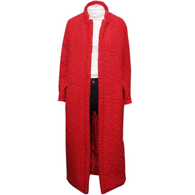 De Capuche Cachemire Wyf127 Veste Femme Manteau À Faux Red Fourrure Long Hiver Chaud Cardigan Femmes Lâche Outwear Épaississent Agneaux q5nvFH