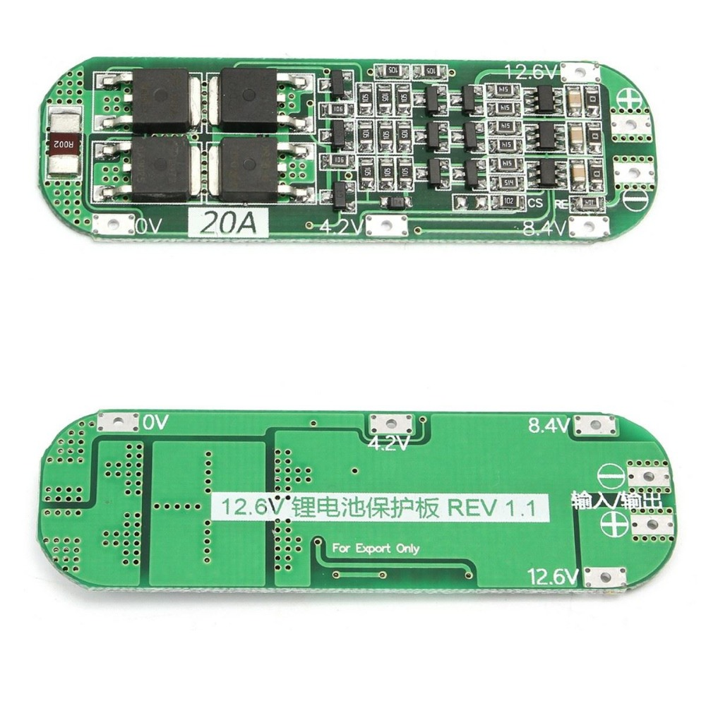 3S 20A Li-ion Lithium Battery 18650 Charger PCB BMS Protection Board 12.6V Cell 64x20x3.4mm Module 4a 5a pcb bms protection board for 3 packs 18650 li ion lithium battery cell 3s 2pcs