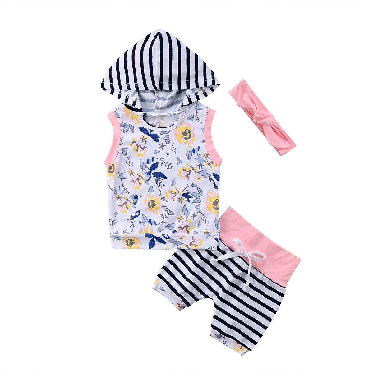 Pudcoco Newborn Infant Baby Kid Fashion Girls HOT SALE 2PCS Floral Hooded Vest+Pants+Headband Clothes Set 0-24M
