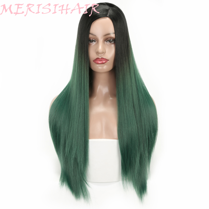 MERISI HAIR Long Straight Hair Green Purple Pink 7Colors Available Wigs For Women Synthetic Wigs High Temperature Fiber