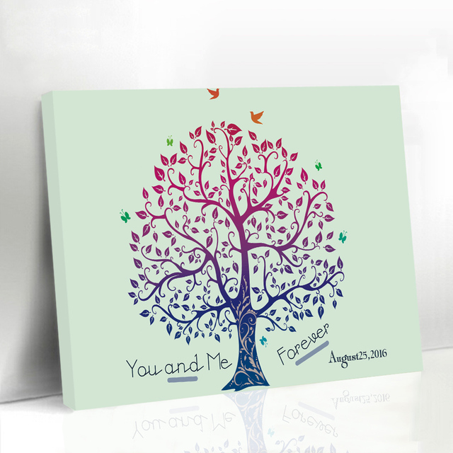 Wedding Guest Book Alternatives Fingerprint Tree Baby Shower, Framed Canvas  Poster Prints, Engagement Souvenirs