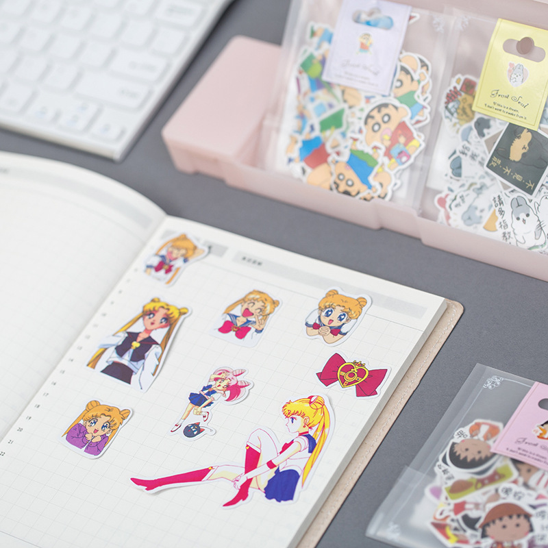 Cute Kawaii Cartoon Sailor Moon Maruko Girl Cat Sticker Package Decorative Stationery Stickers Scrapbooking DIY Diary Album