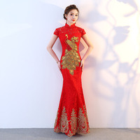 Bride Vintage Cheongsam Long National Chinese Dress Red Qi Pao Women Phoenix Embroidery Traditional Evening Gown Qipao Pattern
