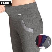Plus rozmiar 5XL 6XL Kobiety ołówek spodnie capri wysokiej elastyczny pas z polaru odcinek łączone gabinet formalna suknia przyczynowe spodnie kobiece spodnie