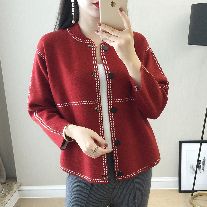 Spring Autumn New Women's Cashmere Cardigan O Neck Single breasted Fashion Jacket Solid High Quality Loose Wool Knit coat