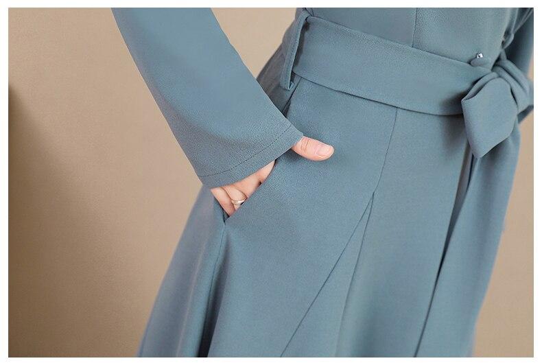 Spring and Autumn 2019 New Women's Dresses Korean Edition Long Sleeve Dresses Overlap Long Popular Temperament with Bottom 150
