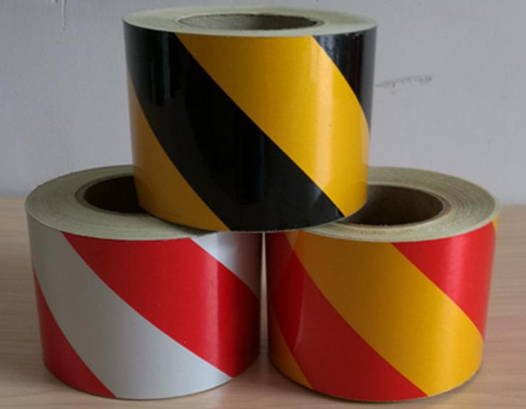 Self-adhesive 10cm Wide Black Yellow Red White Twill Road Traffic Reflective Warning Tape Reflective Film Stickers Reflective Material