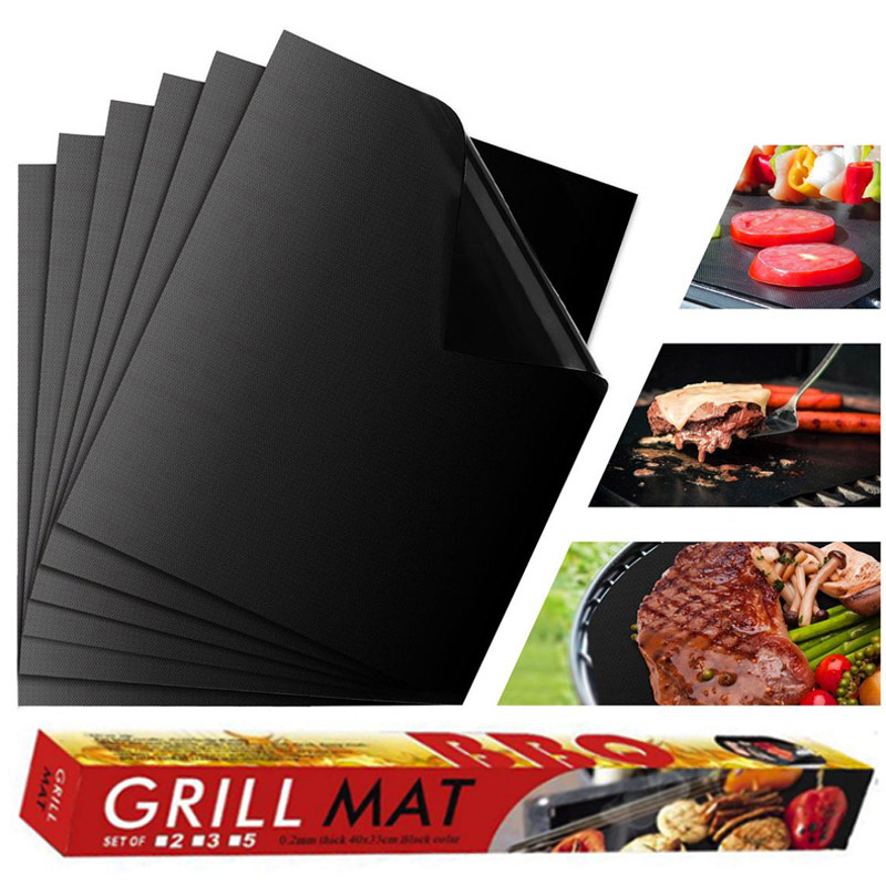 3 piezas/5 piezas/6 piezas parrilla antiadherente barbacoa forros reutilizables hojas de cocina PTFE Bakeware hoja fácil limpieza