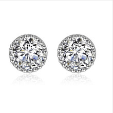 Everoyal Shiny Crystal Round Stud Earrings Jewelry Fashion 925 Sterling Silver For Women Party Accessories Female Bijou