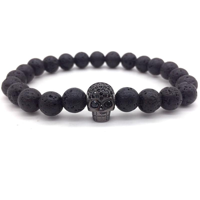2017 Hot Brand Fashion Charm Bracelet Micro Pave CZ Skull Head Lava Stone Beads Bracelet For Men Jewelry Gift bracelet skull