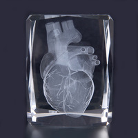 TOP COOL ART medicine Medical Science Internal medicine Doctor heart Figurine 3D Crystal statue FREE SHIPPING cost