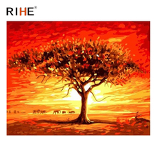RIHE Sunset Tree Diy Painting By Numbers Sky Oil Elephant Cuadros Decoracion Acrylic Paint On Canvas Modern Wall Art