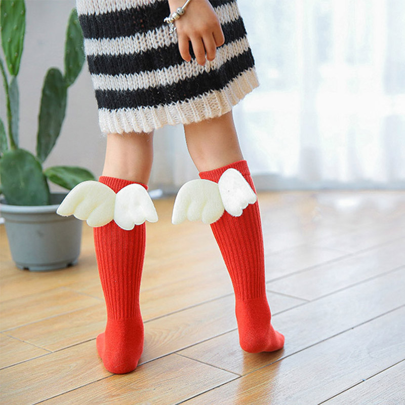 Girls Kid Socks Angel Wing Child Long Knee Sock Candy Color Sock For Girls Child Vertical Stripedr Hose For 2-10Y Meia CL2060