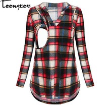 Teenster Maternity Shirt Woman Blouses and Tops Plaid Nursin