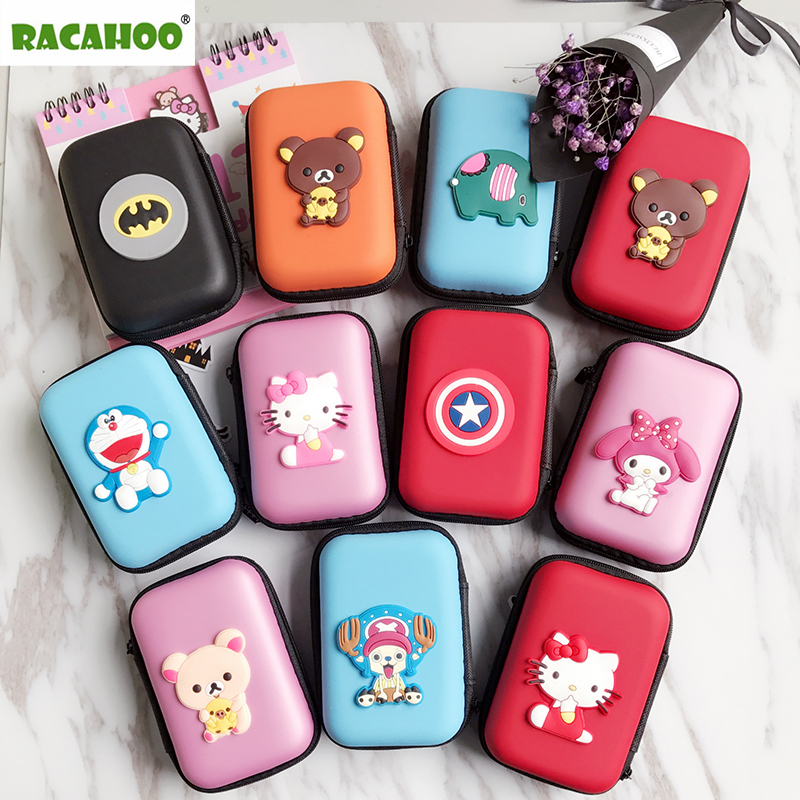 RACAHOO Mini Cartoon Earphone Storage Bag Case For Headphone Key Coin Hard Holder Box Carrying Hard Hold Memory Card Ear Pads candy colored girls coin bags women key wallets cute pu eva mini square storage hard bag case holder for sd tf card earphone