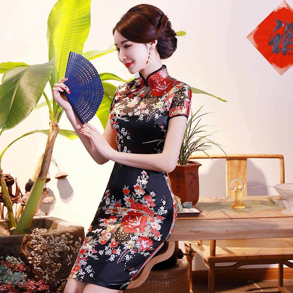 BLACK Print Flower Women Short Slim Cheongsam Sexy High Split Chinese Traditional Dress Plus Size Rayon Qipao Vestidos S-6XL