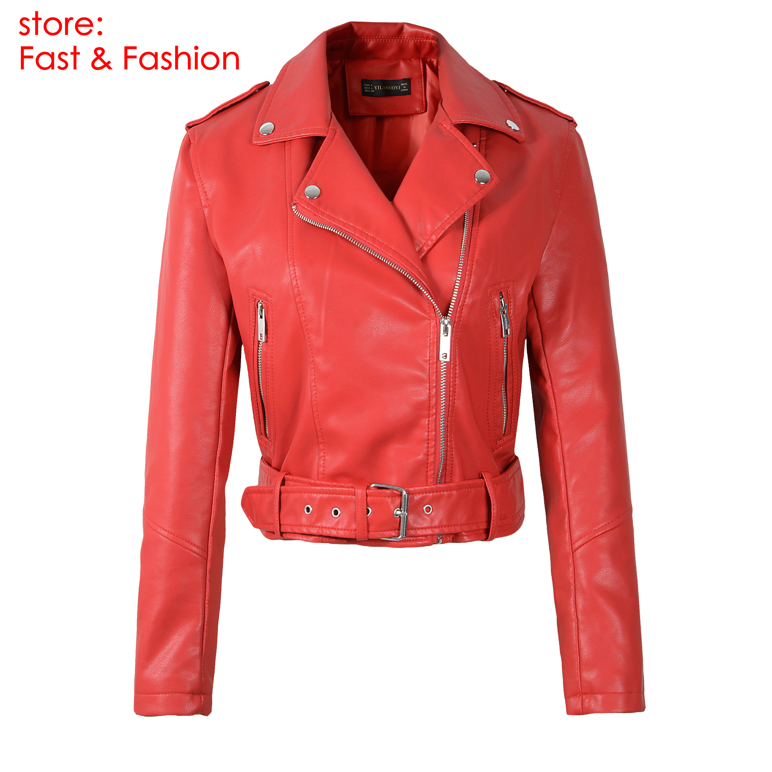 Generic Womens Fashion Lapel Motorcycle Faux Leather Short Jacket with Zipper Black XS