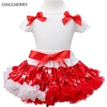 Red & White Baby Girl Christmas Dress Toddler Bow Lace Skirts Top Set Kids New Year Costume Vestido Bebe Children Girls Clothes