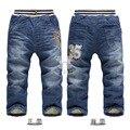 Outono Inverno Meninos calças de Brim Do Bebê Meninos Cashmere Quente Calças Crianças Denim Calças Crianças Calças Jeans Para 3-7 Idades