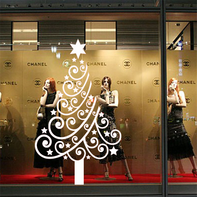 Christmas Decoration Store Showcase Glass Sticker ChristmasTree ...