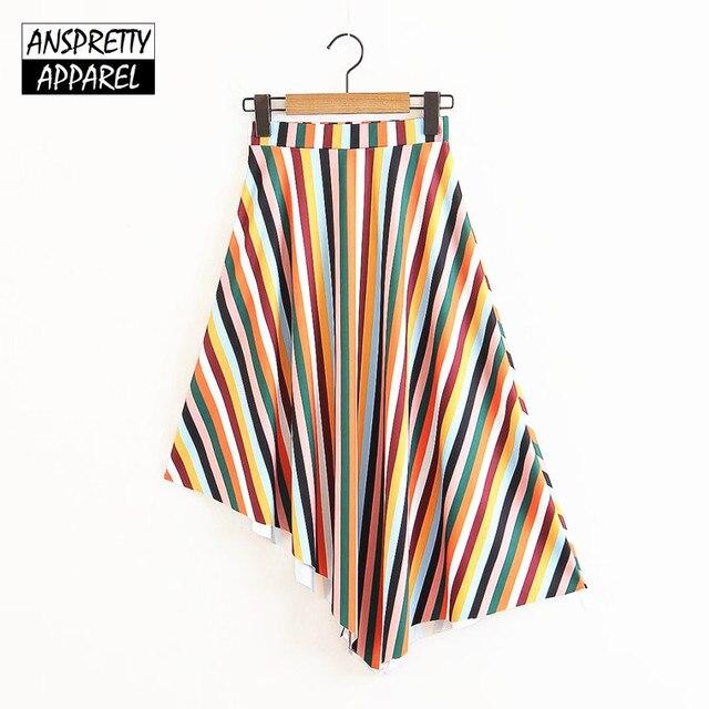 Anspretty Apparel Высокая талия юбка миди женские Разноцветные полосатые Асимметричная юбка в винтажном стиле повседневная женская обувь boho юбки