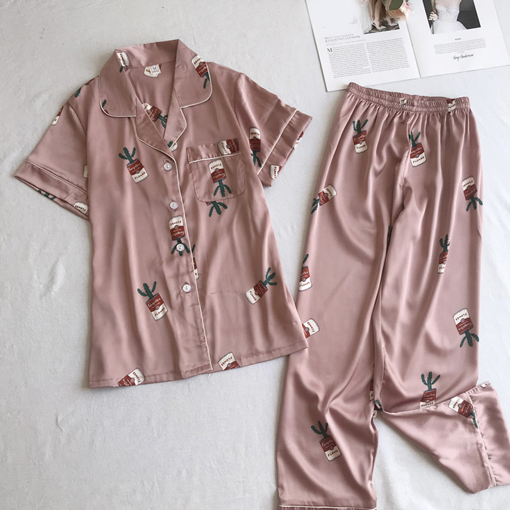 Autumn Spring Set Silk Elegant Women Pajamas Print Shorts Long Sleeve Top Elastic Waist Pants Full Lounge Sleepwear 7.2 0.5