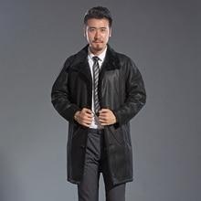 Genuine Import Sheepskin Leather Jacket Trendy Casual Winter Warm Fur Collar Overcoat New Tops Black Male Long Fur Jacket Coat