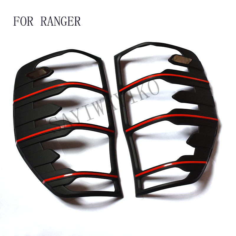 FIT for ford ranger accessories ABS matte black tail light covers trim for T6 T7 xlt 2012- 2017 car styling rear lamp cover abs chrome tail light covers trim rear lamp cover for nissan qashqai 2015 car styling stickers accessories free shipping